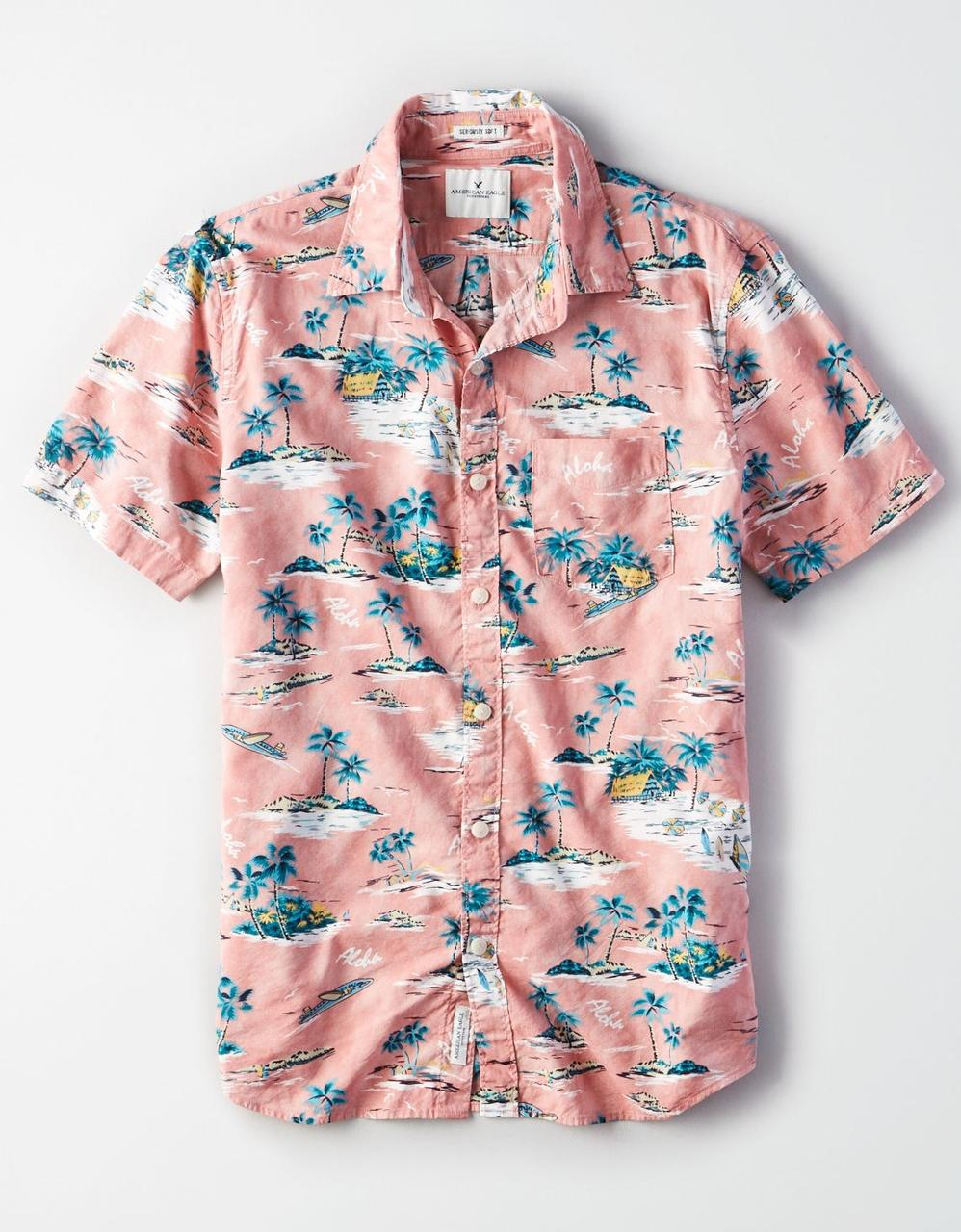 ef6fb9f72216 American Eagle Shirts, AE Aloha Printed Button-Down Poplin Shirt for ...