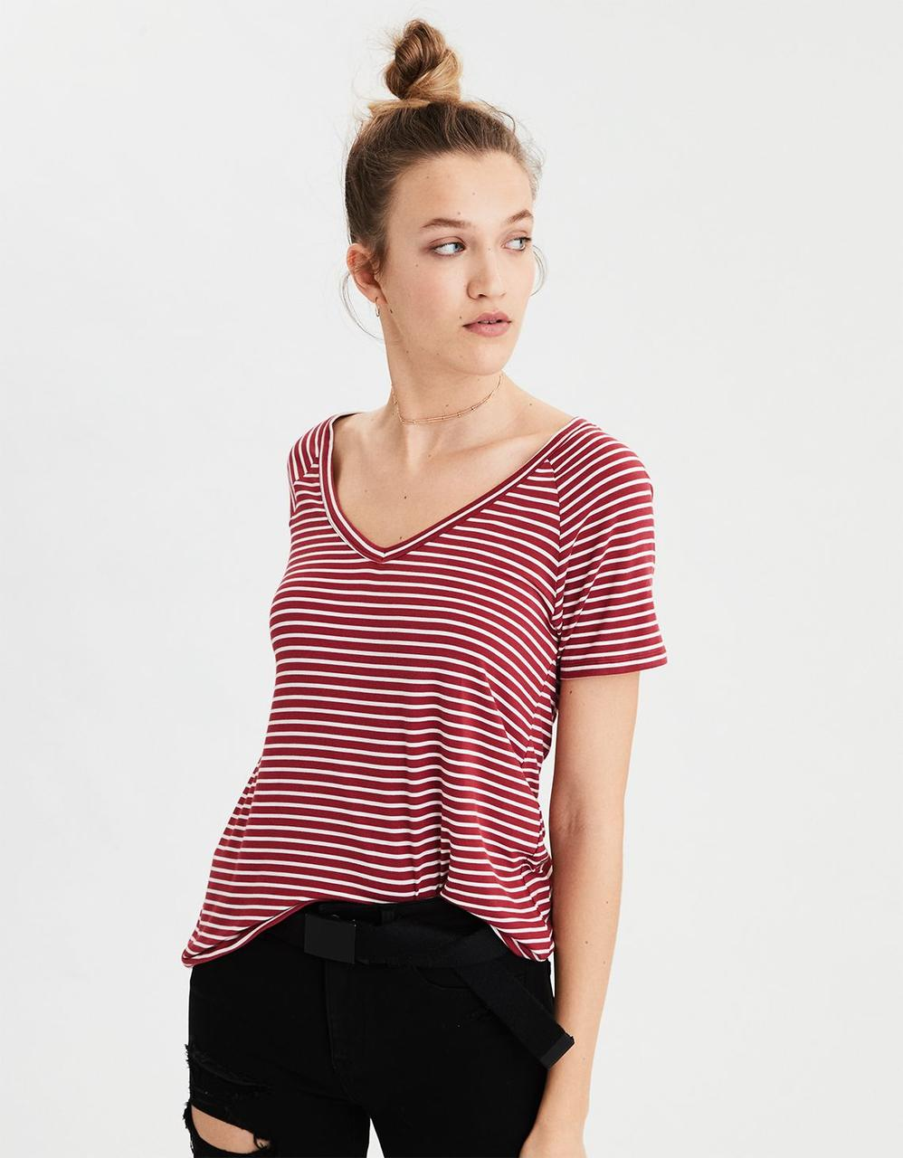 c219c27f American Eagle T-Shirts, AE STRIPED SOFT & SEXY V-NECK T-SHIRT for ...
