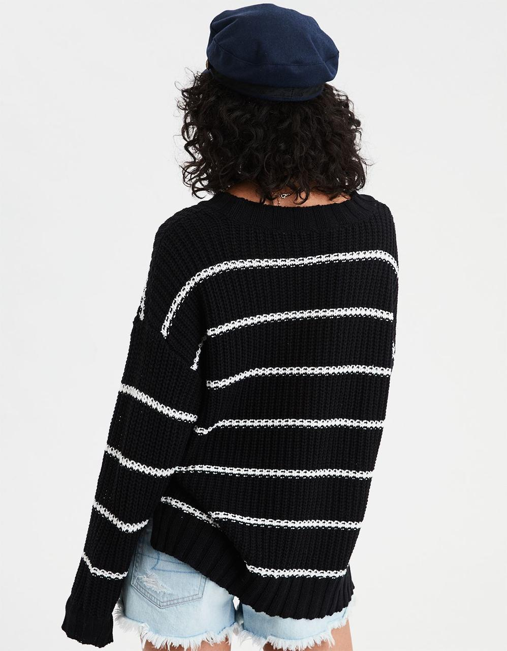 b7135df6be2 AE STRIPE POCKET CREW NECK SWEATER