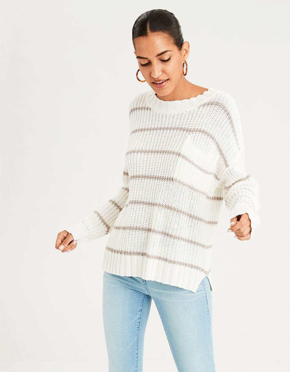 c63585651a93 American Eagle Sweaters, AE STRIPE POCKET CREW NECK SWEATER for ...