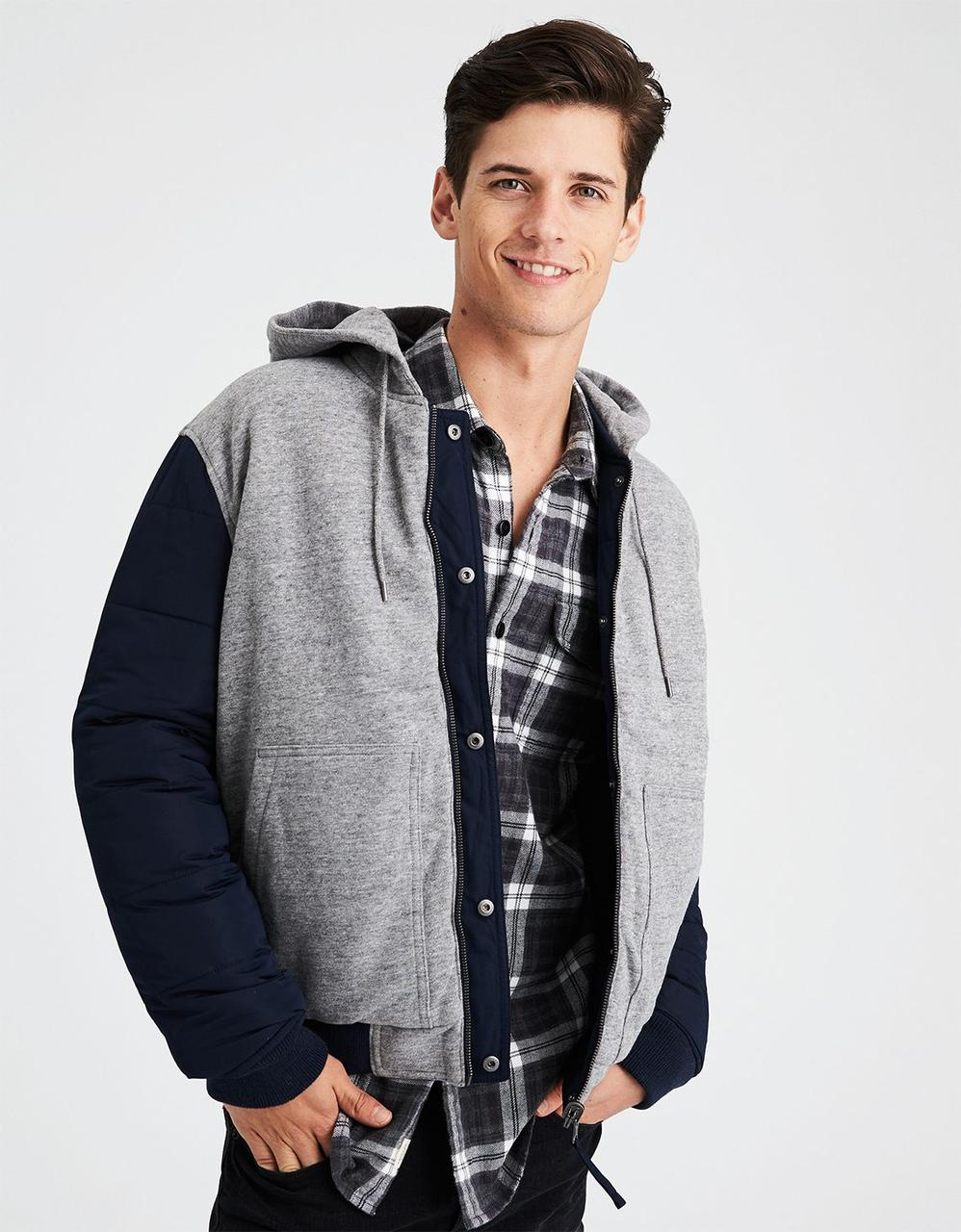 a22a0f85377bc5 AE REVERSIBLE HOODED BOMBER JACKET