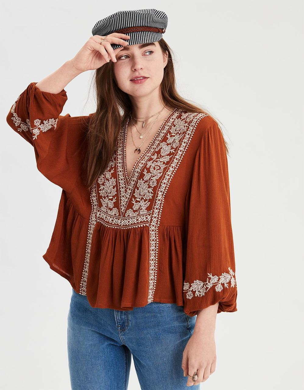 a837598f80a2e3 AE LONG SLEEVE EMBROIDERED TOP