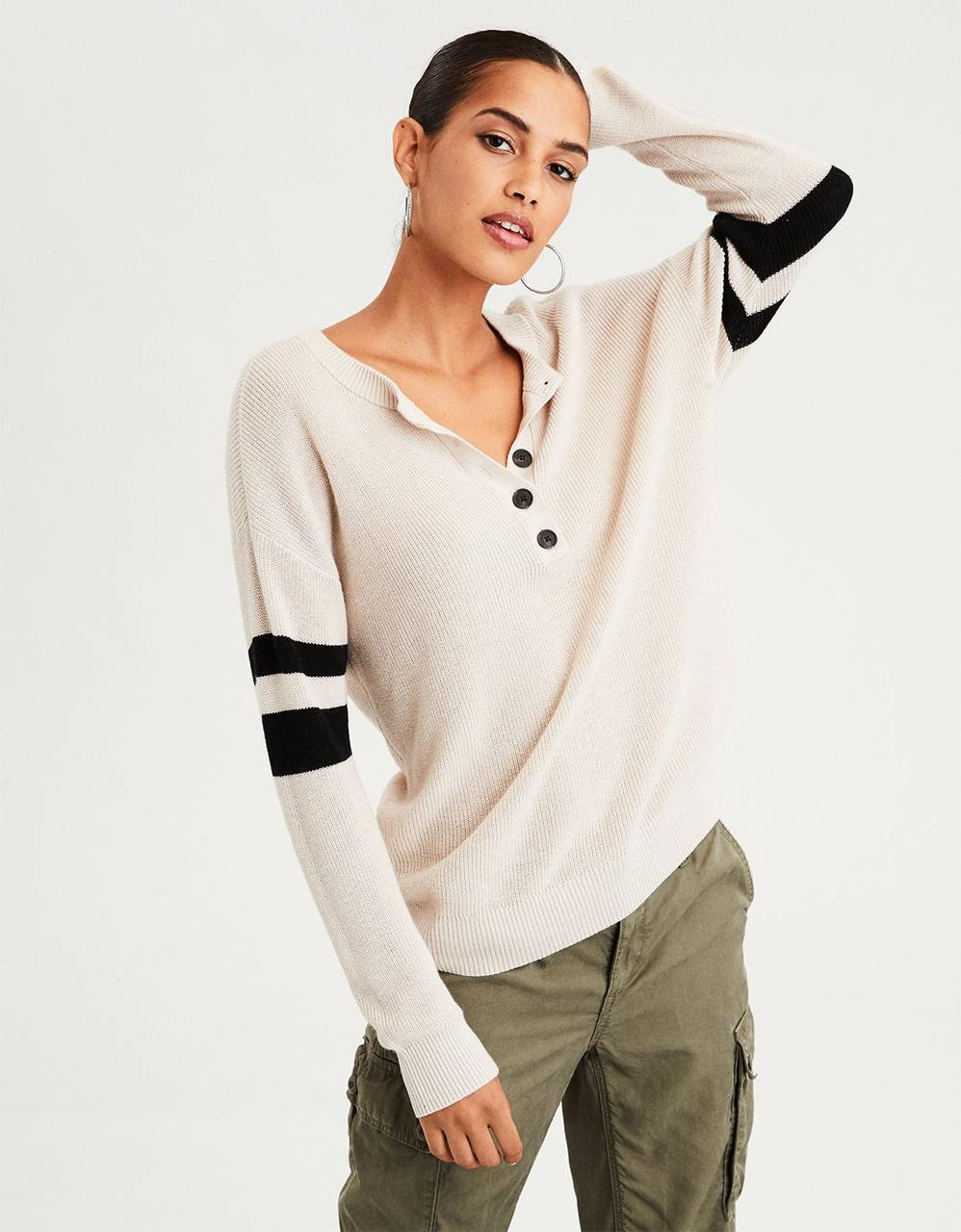 532c228a7f65 American Eagle Sweaters, AE VARSITY STRIPE HENLEY PULLOVER SWEATER ...