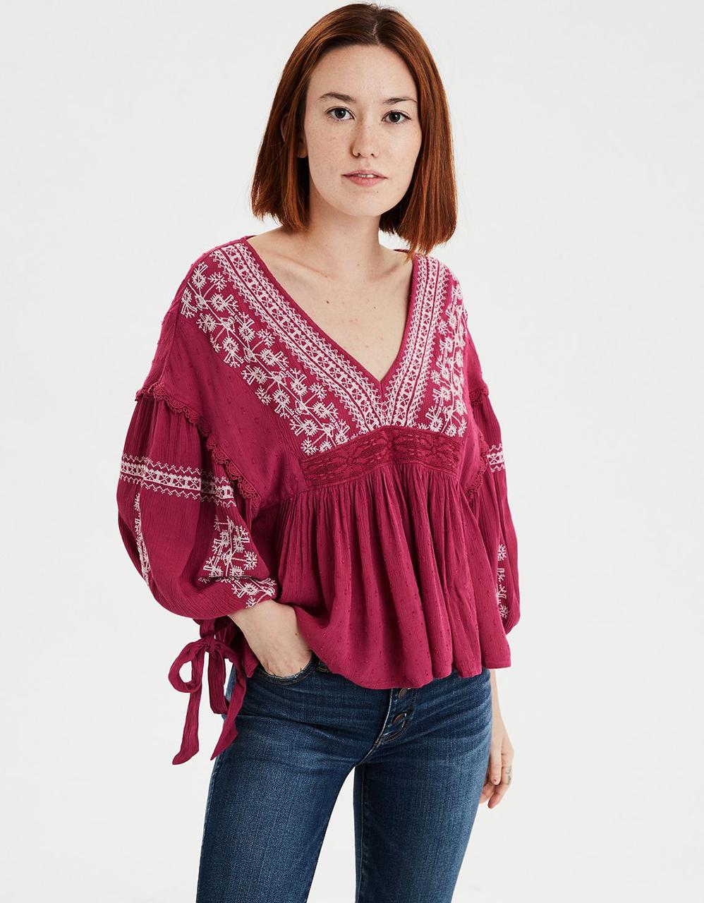 143c720a8e690c American Eagle Crop Tops, AE LONG SLEEVE EMBROIDERED PEASANT TOP for ...